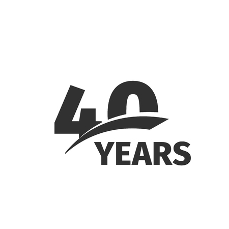 Isolated abstract black 40th anniversary  on white background. 40 number . Forty years jubilee celebration icon. Fortieth birthday emblem. Vector anniversary illustration