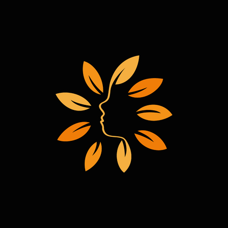 feminize: Isolated abstract orange color floral logo. Round shape flowers with petals logotype. Floral vector illustration. Woman profile face icon. Female side view sign. Nature elements