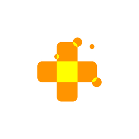 arithmetic: Isolated abstract orange color cross logo. Medical logotype. Hospital, ambulance,clinic icon. Geometric shape mosaic tile. Religious sign. Arithmetic plus symbol. Vector cross illustration Illustration