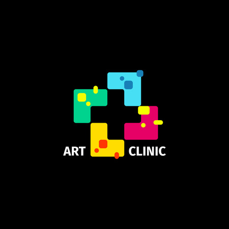 arithmetic: Isolated abstract colorful cross logo. Medical logotype. Hospital, ambulance,clinic icon. Geometric shape mosaic tile. Religious sign. Arithmetic plus symbol. Vector cross illustration