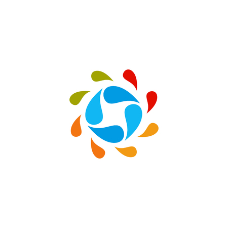 Isolated abstract colorful water drops circle logo. Liquid circulation logotype. Kids art school icon, Round shape spining paint sign. Natural process of renewal symbol. Vector drops illustration  イラスト・ベクター素材