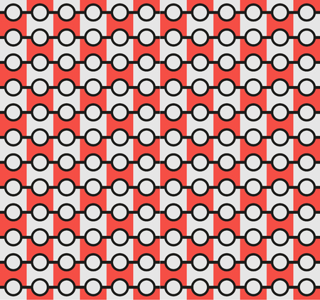 poke: Isolated abstract grey and red color pattern backdrop. Bright circular elements and lines wallpaper. Unusual fabric background. Vector illustration