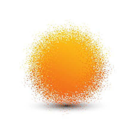 orange color: Abstract orange fluffy isolated sphere with shadow logo. Round shape fuzzy kids ball logotype. Shining sun icon. Soft material pompon toy sign. Vector sphere illustration Illustration