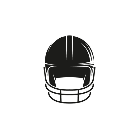 head protection: Isolated abstract black color baseball helmet logo on white background. Professional sport equipment logotype. Head protection icon. Safety element sign. Vector baseball helmet illustration