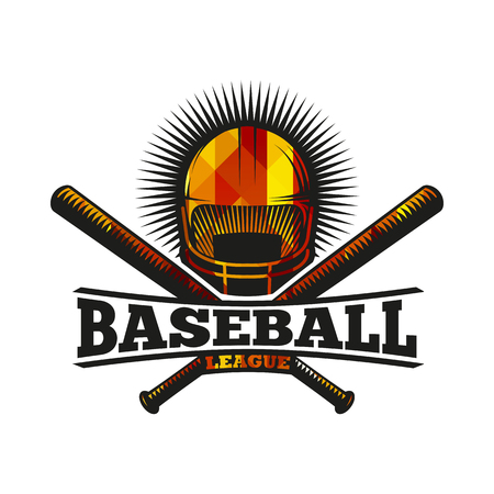 Isolated abstract colorful baseball helmet with bats logo. Professional sport equipment logotype. Safety element icon. American national game sign. Vector baseball equipment illustration Illustration