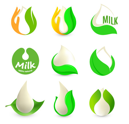 Isolated abstract white drop of milk in green fresh leaf and orange palm logo set. Dairy products logotype collection. Sour cream or kefir icon. Organic products sign. Vector drop of milk illustration