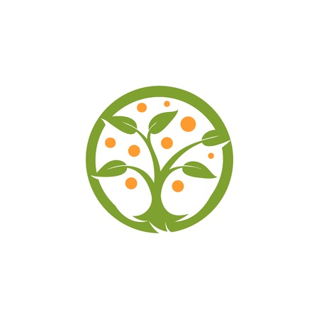 alternative medicine: Isolated abstract round shape green, orange color tree logo. Natural element logotype. Leaves and trunk icon. Park or forest sign. Environmental symbol. Vector tree illustration. Illustration