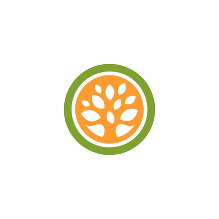 natural cosmetics: Isolated abstract green and orange color round shape tree logo. Leaf logotype. Natural cosmetics icon. Eco system element. Organic products sign. Healthcare emblem. Vector leaf illustration