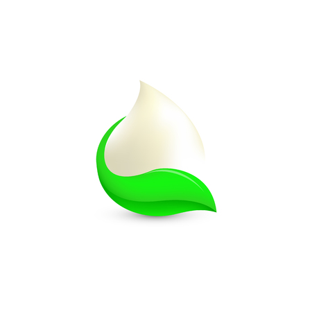 sour: Isolated abstract white drop of milk in green fresh leaf logo. Dairy products logotype. Sour cream or kefir icon. Organic products sign. Vector drop of milk illustration