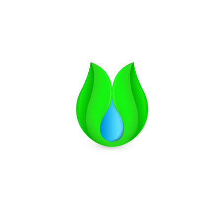 Isolated abstract blue water drop in green leaf logo. Natural pure liquid logotype. Fresh drink icon. Dew sign. Vector illustration