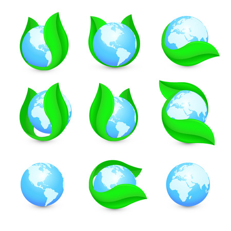 purified: Isolated abstract blue earth hemispheres in green leaf logo set. Natural pure liquid logotype collection. Planet globe symbol. Fresh drink icon. Dew sign. Vector water drop illustration Illustration