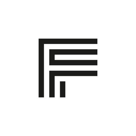 Unusual geometric letter F. Architecture  logo. Isolated monogram