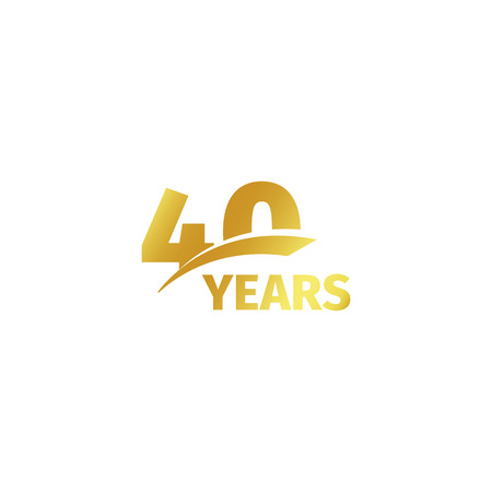 Isolated abstract golden 40th anniversary logo on white background. 40 number logotype. Forty years jubilee celebration icon. Fortieth birthday emblem. Vector illustration