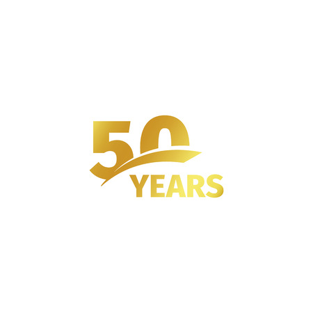 Isolated abstract golden 50th anniversary logo on white background. 50 number logotype. Fifty years jubilee celebration icon. Fiftieth birthday emblem. Vector illustration Çizim