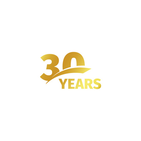 Geïsoleerde abstract gouden 30ste verjaardag-logo op een witte achtergrond. 30 nummer logo. Dertig jaar pictogram jubileumviering. Dertigste verjaardag embleem. vector illustratie