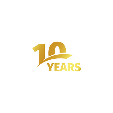 Isolated abstract golden 10th anniversary logo on white background. 10 number logotype. Ten years jubilee celebration icon. Tenth birthday emblem. Vector illustration Stock Illustratie
