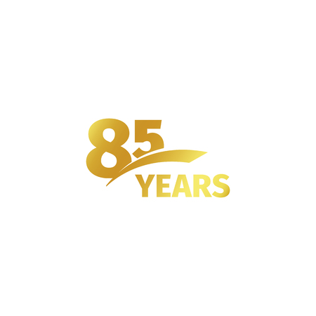 Isolated abstract golden 85th anniversary logo on white background. 85 number logotype. Eighty-five years jubilee celebration icon. Birthday emblem. Vector illustration Stock Illustratie