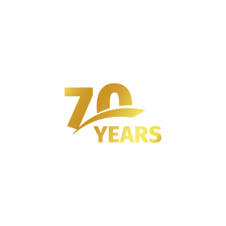 seventieth: Isolated abstract golden 70th anniversary logo on white background. 70 number logotype. Seventy years jubilee celebration icon. Seventieth birthday emblem. Vector illustration