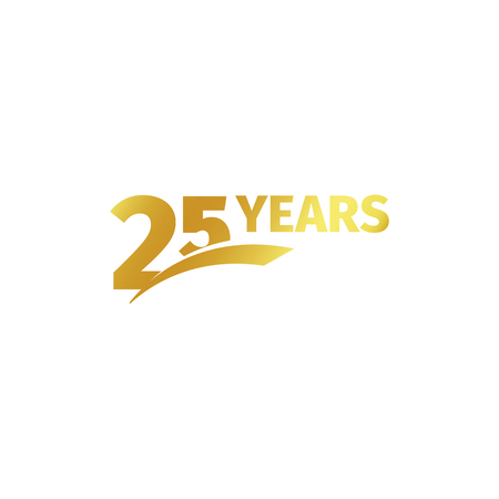 Isolated abstract golden 25th anniversary logo on white background. 25 number logotype. Twenty-five years jubilee celebration icon. Birthday emblem. Vector illustration Vettoriali
