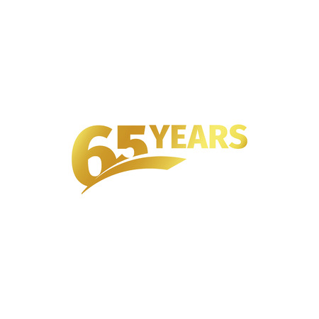Isolated abstract golden 65th anniversary logo on white background. 65 number logotype. Sixty-five years jubilee celebration icon. Birthday emblem. Vector illustration