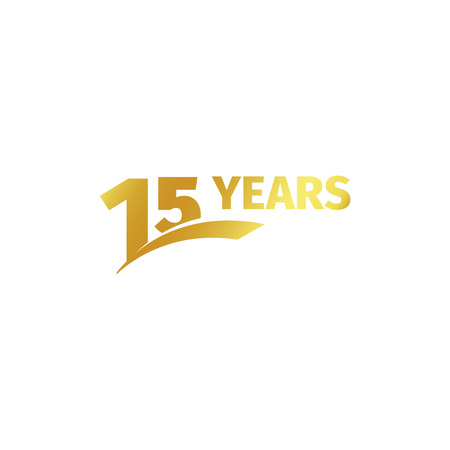 fifteenth: Isolated abstract golden 15th anniversary logo on white background. 15 number logotype. Fifteen years jubilee celebration icon. Fifteenth birthday emblem. Vector illustration