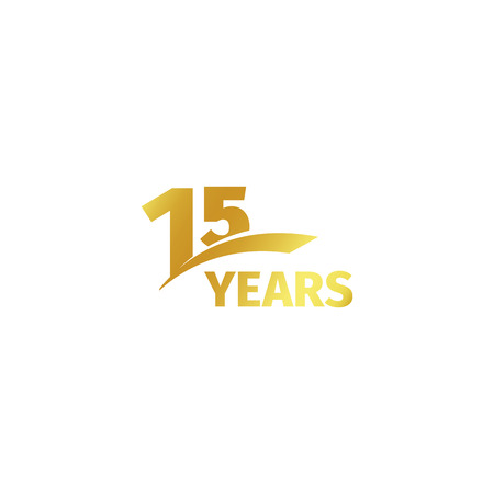 15th: Isolated abstract golden 15th anniversary logo on white background. 15 number logotype. Fifteen years jubilee celebration icon. Fifteenth birthday emblem. Vector illustration