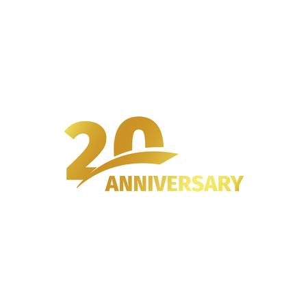Isolated abstract golden 20th anniversary logo on white background. 20 number logotype. Twenty years jubilee celebration icon. Twentieth birthday emblem. Vector illustration Stock Illustratie