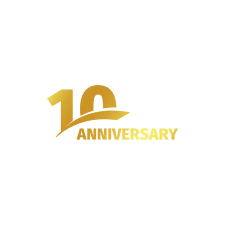 Isolated abstract golden 10th anniversary logo on white background. 10 number logotype. Ten years jubilee celebration icon. Tenth birthday emblem. Vector illustration Vectores