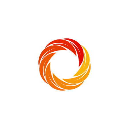 firing: Isolated abstract red,orange,yellow circular sun logo. Round shape logotype. Swirl, tornado and hurricane icon. Spining hypnotic spiral sign. Photo lens symbol. Vector wheel illustration