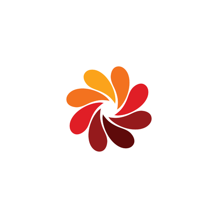 Isolated abstract red flower logo. Spiral floral petals logotype. Stylized photo lens icon. Swirl sign. Decorative element. Vector illustration