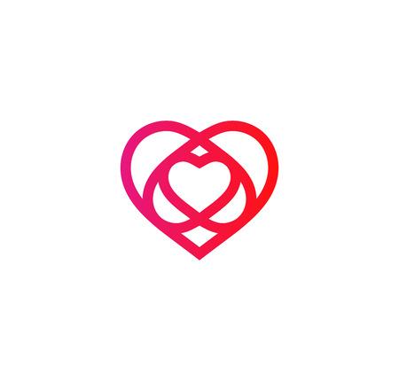 Isolated crimson abstract monoline heart logo. Love logotypes. St. Valentines day icon. Wedding symbol. Amour sign. Cardiology emblem. Vector illustration