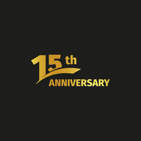 15th: Isolated abstract golden 15th anniversary logo on black background. 15 number logotype. Fifteen years jubilee celebration icon. Fifteenth birthday emblem. Vector illustration