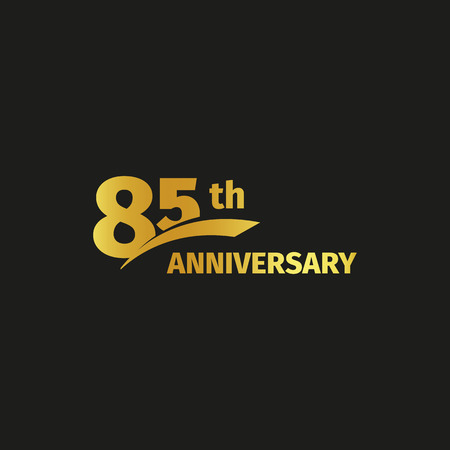 Isolated abstract golden 85th anniversary logo on black background. 85 number logotype. Eighty-five years jubilee celebration icon. Eighty-fifth birthday emblem. Vector illustration