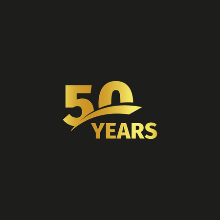 Isolated abstract golden 50th anniversary logo on black background. 50 number logotype. Fifty years jubilee celebration icon. Fiftieth birthday emblem. Vector illustration