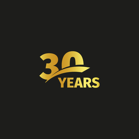 Isolated abstract golden 30th anniversary logo on black background. 30 number logotype. Thirty years jubilee celebration icon. Thirtieth birthday emblem. Vector illustration