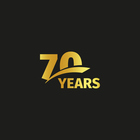 seventieth: Isolated abstract golden 70th anniversary logo on black background. 70 number logotype. Seventy years jubilee celebration icon. Seventieth birthday emblem. Vector illustration