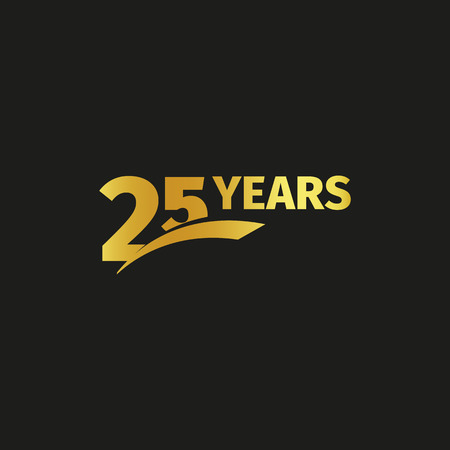 Isolated abstract golden 25th anniversary logo on black background. 25 number logotype. Twenty-five years jubilee celebration icon. Twenty-fifth birthday emblem. Vector illustration