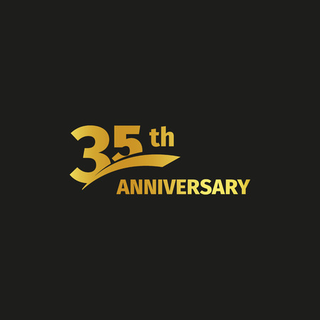 Isolated abstract golden 35th anniversary logo on black background. 35 number logotype. Thirty-five years jubilee celebration icon. Thirty-fifth birthday emblem. Vector illustration