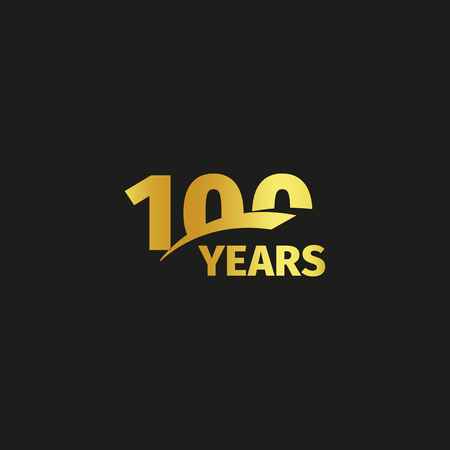 Isolated abstract golden 100th anniversary logo on black background. 100 number logotype. One hundred years jubilee celebration icon. Hundredth birthday emblem. Vector illustration