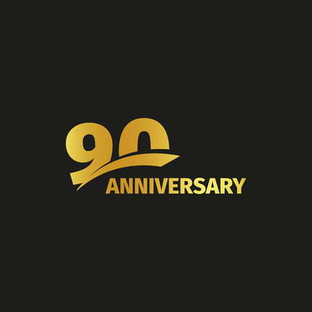 Isolated abstract golden 90th anniversary logo on black background. 90 number logotype. Ninty years jubilee celebration icon. Nintieth birthday emblem. Vector illustration