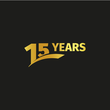 fifteenth: Isolated abstract golden 15th anniversary logo on black background. 15 number logotype. Fifteen years jubilee celebration icon. Fifteenth birthday emblem. Vector illustration