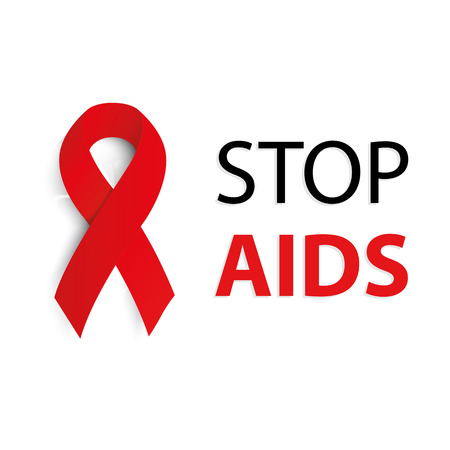 aids virus: Isolated red ribbon disease awareness. World Aids Day concept. Stop virus icon. International support campaign for sick people. Vector illustration
