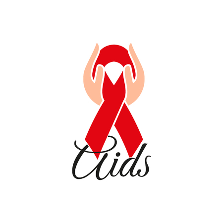 Isolated red ribbon in human hands. Disease awareness. World Aids Day concept. Stop virus icon. International support campaign for sick people. Vector illustration