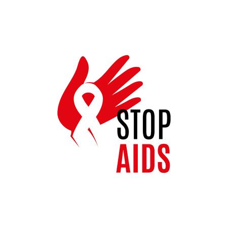 Isolated white ribbon in red human hand. Disease awareness. World Aids Day concept. Stop virus icon. International support campaign for sick people. Vector illustration
