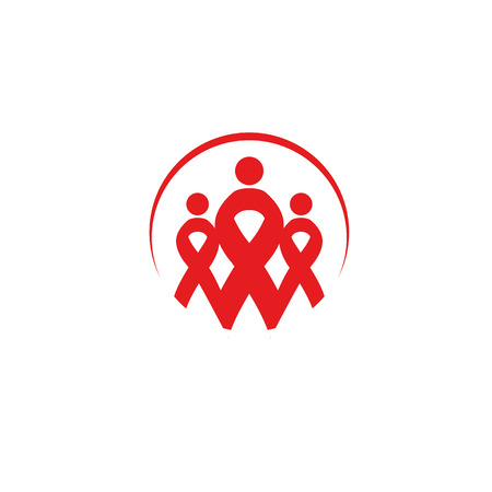 sexual intercourse: Isolated red ribbon disease awareness. Round shape human silhouettes logo. World Aids Day concept. Stop virus icon. International support campaign for sick people. Vector illustration