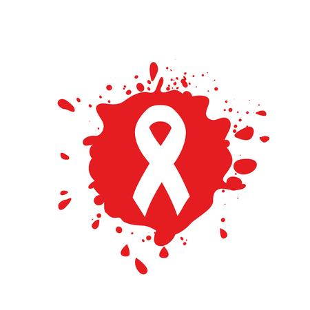 conciencia de la enfermedad cinta blanca aislado. logotipo de la mancha de sangre roja. concepto del Día Mundial del Sida. Detener el icono de virus. campaña de apoyo internacional a las personas enfermas. ilustración vectorial