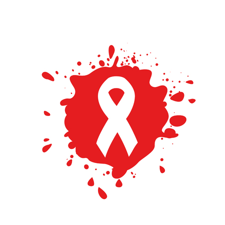 Isolated white ribbon disease awareness. Red blood stain logo. World Aids Day concept. Stop virus icon. International support campaign for sick people. Vector illustration
