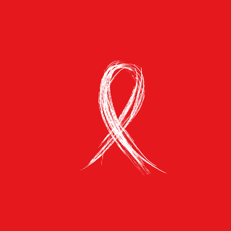 Isolated white ribbon disease awareness. World Aids Day concept. Stop virus icon on red background. International support campaign for sick people. Vector illustration Illustration