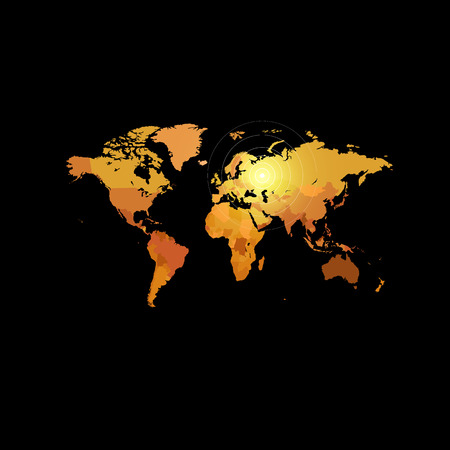 cartography: Orange color world map on black background. Globe design backdrop. Cartography element wallpaper. Geographic locations image. Continents vector illustration