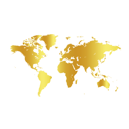 Golden color world map on white background. Globe design backdrop. Cartography element wallpaper. Geographic locations image. Continents vector illustration